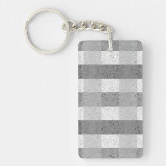 Shades of Grey Plaid Single-Sided Rectangular Acrylic Keychain
