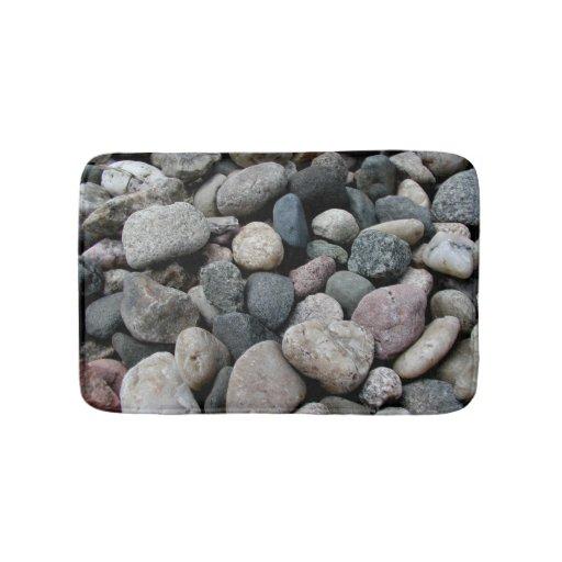 Shades of grey river rock memory foam kitchen rug bath for River stone bath mat