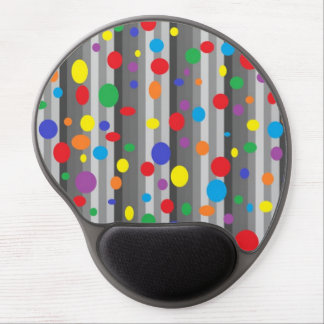 Shades of Grey w/Rainbow Polka Dots Gel Mousepad