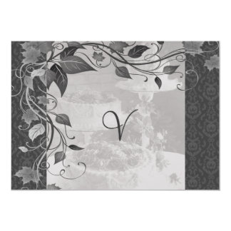 Shades Of Grey Wedding Cake Damask Card