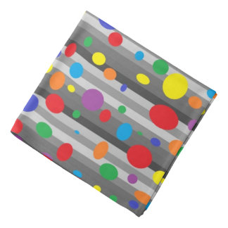 Shades of Grey with Rainbow Polka Dots Bandana