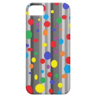 Shades of Grey with Rainbow Polka Dots iPhone Case