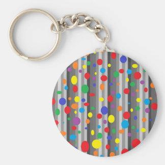 Shades of Grey with Rainbow Polka Dots Keychain