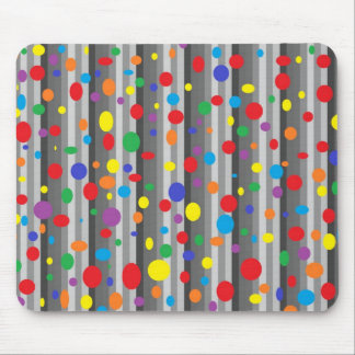 Shades of Grey with Rainbow Polka Dots Mousepad