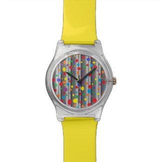 Shades of Grey with Rainbow Polka Dots Watch