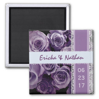 SHADES OF HYACINTH Lace Wedding Rose Bouquet 2 Inch Square Magnet