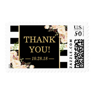 Shades of Ivory Floral B&W Stripes Thank You Postage