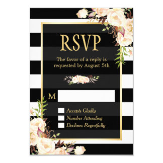 Shades of Ivory Floral Black White Stripes RSVP Card