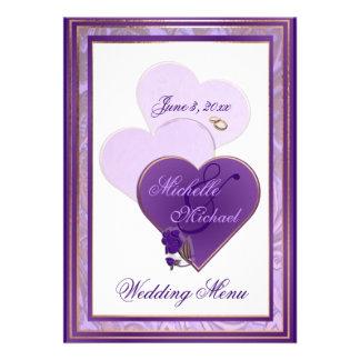 Shades of Lavender and Purple Lace Wedding Menu Custom Invitations
