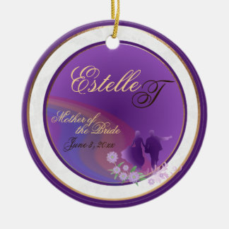 Shades of Lavender Mother of the Bride Keepsake Double-Sided Ceramic Round Christmas Ornament