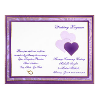 Shades of Lavender Purple And Lace Wedding Program