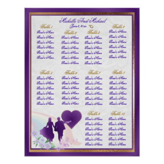 Shades of Lavender Wedding Table Seating Chart Poster