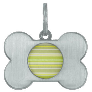 Shades of Lemon Yellow & White Linen Look Stripes Pet Name Tag