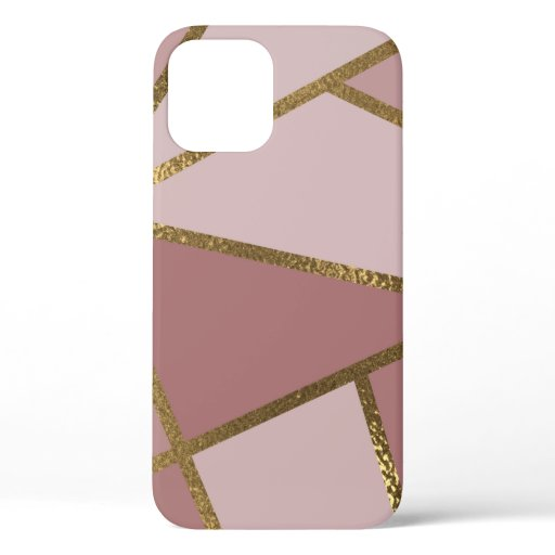 Shades of Mauve Pink & Gold Bronze Geometric Glam iPhone 12 Case