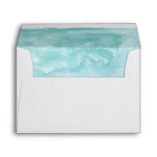 Shades of Ocean Blue Watercolor Inside Lined Envelope