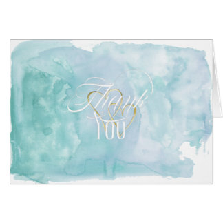 Shades of Oceanic Blue Watercolor Thank You Card