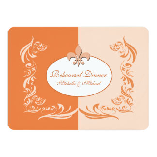 Shades of Orange Fleur de Lis Wedding Event Card