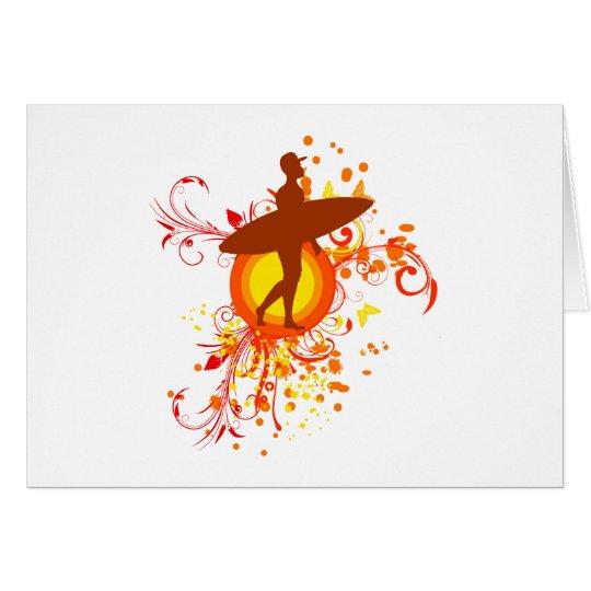 Shades of orange Surfer Silhouette Card