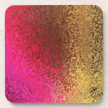 Shades of Pink and Gold Abstract Cork Coaster