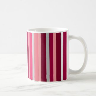 Shades of Pink and Gray Stripes Mug