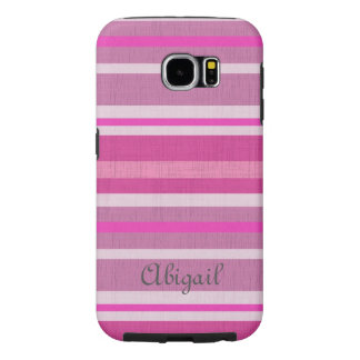 Shades of Pink and White Linen Look Striped Design Samsung Galaxy S6 Cases