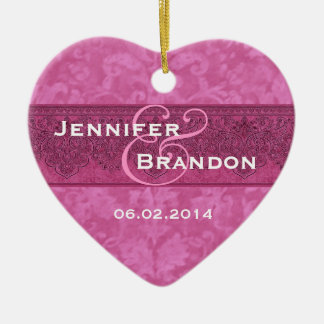 SHADES OF PINK Damask Wedding Ornament