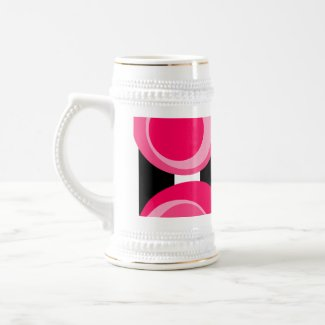 Shades of pink dots Black Stripes Coffee Mug