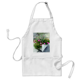 Shades of Pink in a White Planter Adult Apron