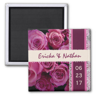 SHADES OF PINK Lace Wedding Rose Bouquet Magnet