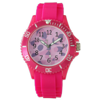 Shades of Pink Purple Abstract Shapes Number Watch