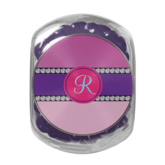 Shades of Pink Purple Mauve Monogram Initial Glass Candy Jars