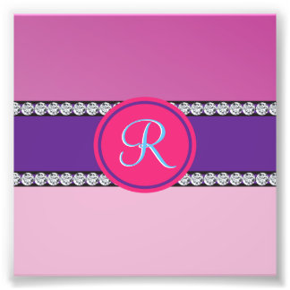 Shades of Pink Purple Mauve Monogram Initial Photo Print