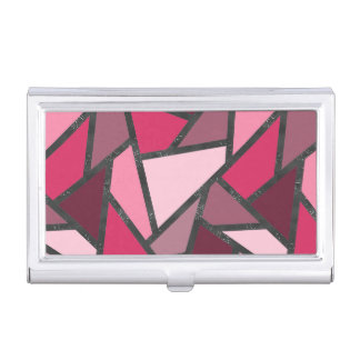Shades of pink stained glass pattern business card case
