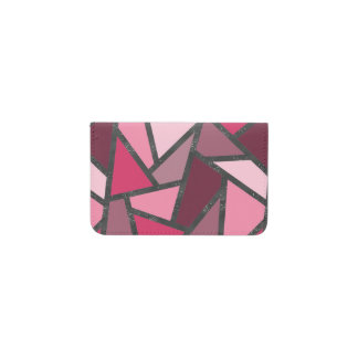 Shades of pink stained glass pattern business card holder