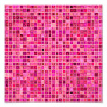 Shades Of Pink 'Watery' Mosaic Tile Pattern Photo Print