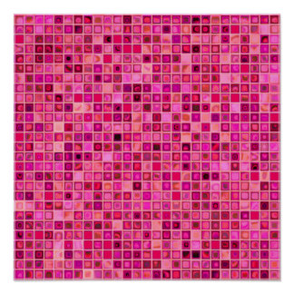Shades Of Pink 'Watery' Mosaic Tile Pattern Poster