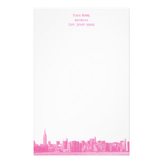 Shades of Pink Wide NYC Skyline Etch Stationery