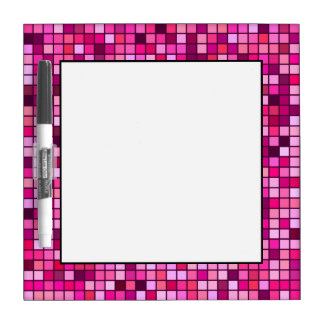 Shades Of Pink With Black Squares Pattern Dry-Erase Board