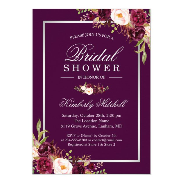 Shades of Plum Purple Flowers Autumn Bridal Shower Card