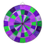 Shades of Purple and Green Game Room Dartboard With Darts