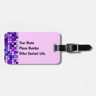 Shades Of Purple 'Grape Soda' Squares Pattern Bag Tag