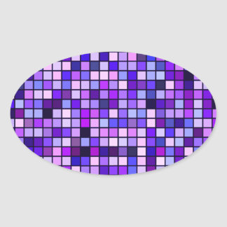 Shades Of Purple 'Grape Soda' Squares Pattern Oval Sticker