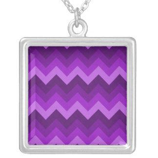 Shades of Purple LG Hombre Chevron ZigZag Pattern Square Pendant Necklace