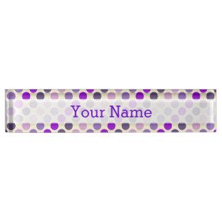 Shades Of Purple Polka Dots by Shirley Taylor Name Plate