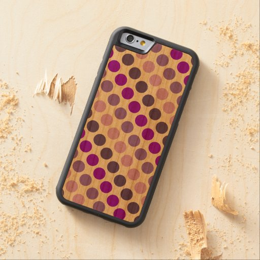 Shades Of Purple Polka Dots Carved® Cherry iPhone 6 Bumper Case