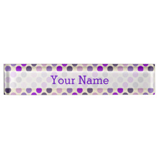 Shades Of Purple Polka Dots Desk Name Plates