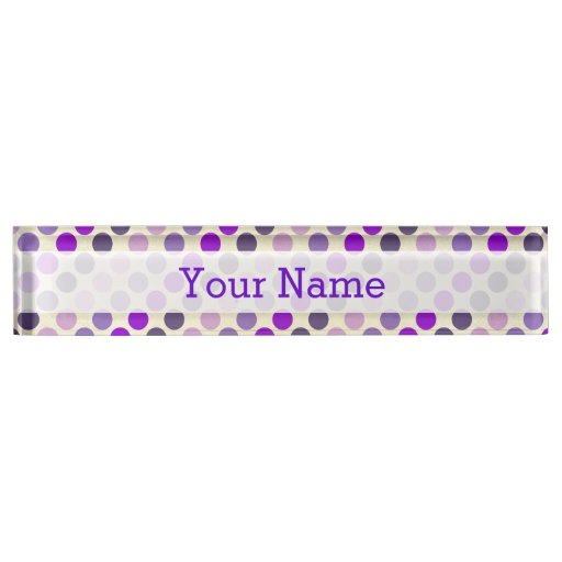 Shades Of Purple Polka Dots Name Plate