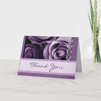 Shades of Purple Roses Thank You Bridal Shower zazzle_card