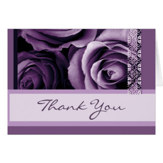 Shades of Purple Roses Thank You Bridal Shower Card