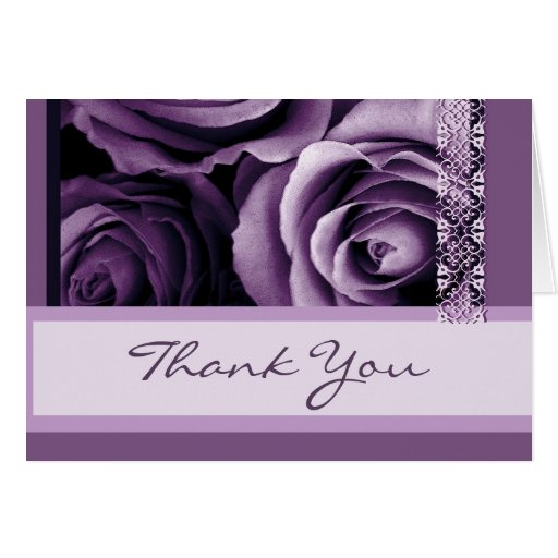 Shades of Purple Roses Thank You Bridal Shower Greeting Card